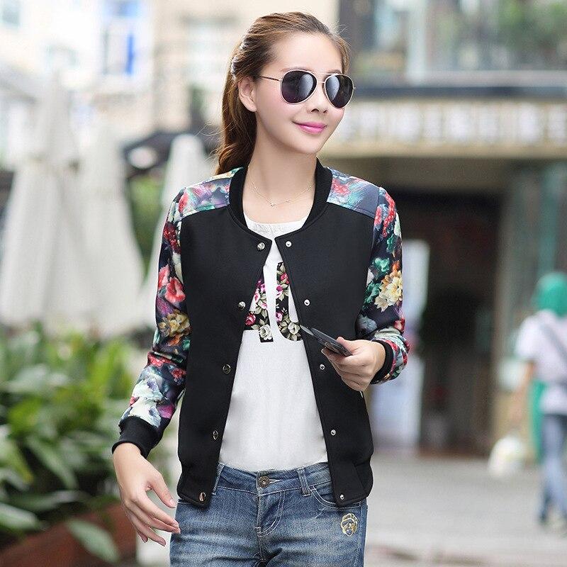 Womens Spring baseball   Jackets   Tops Long Sleeve Floral Print Casual Coat Women Female Clothing zipper   basic     Jacket   wholesale