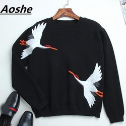 Top Quality Runway Designer Sweater Women Pullover 2018 New Red-crowned Crane Embroidery Winter Wool Knit Oversized Jumper