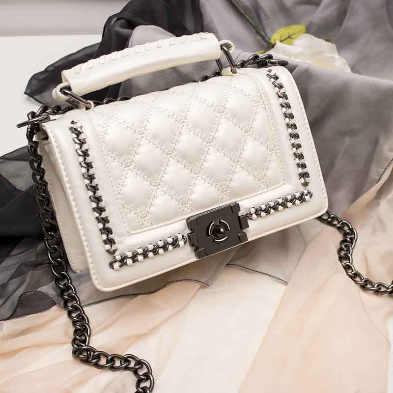 Luxury Handbags Women's Bag Women Messenger Bags PU Handbags Black And White Purses Famous Brand Designer Tote Ladies Hand Bag
