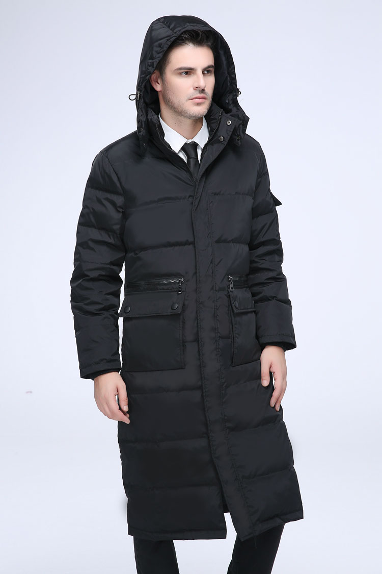 2018 men's winter clothing fashion duck   down     coat   long puffer jacket parkas for male with a hood black plus size xxxxl 3xl 4xl