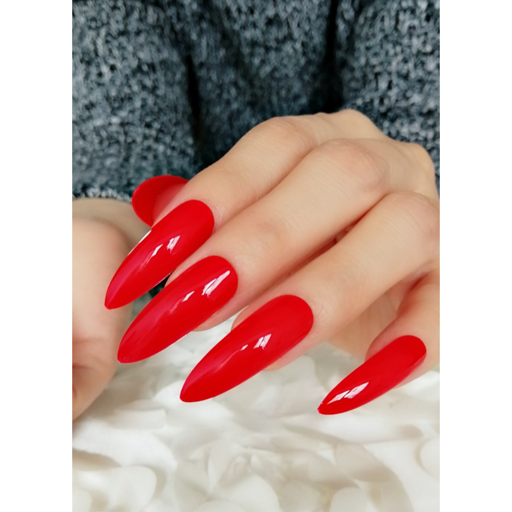 dce9359049340 Extra Long Sharp Stiletto Red False Nails Tips Pointed Stilettos Press On  Nails For Fingers Full Cover with Glue Sticker