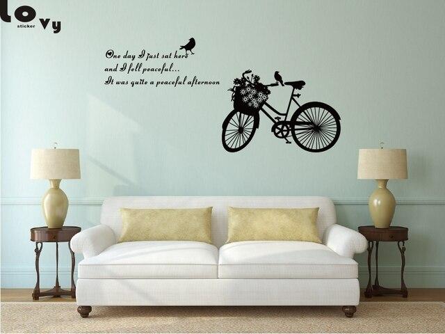 Bike Flower And Birds Vinyl Wall Sticker DIY Cycling Words Wall Art ...
