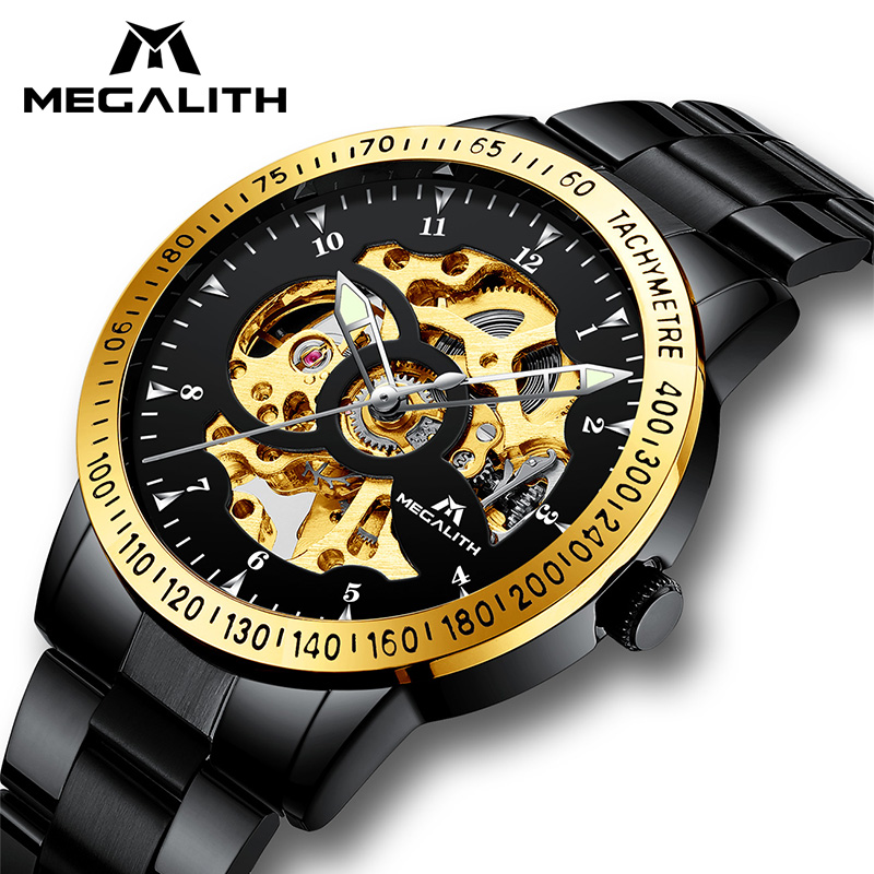 MEGALITH Luxury Hollow Automatic Mechanical Men's Watch Waterproof Stainless Steel Black Gold Case Automatic Watches Male Clock