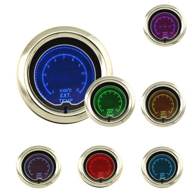 52mm LCD Digital 7 Color Display Exhaust Gas Temp Gauge 200-1200C Car Auto Gauge