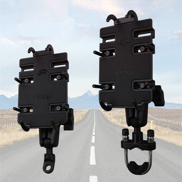 Motorcycle Handlebar Mount Kit Holder Double Socket Arm with Base Mount Rear View Mirror for Cell Phones & Smartphones RAM mount