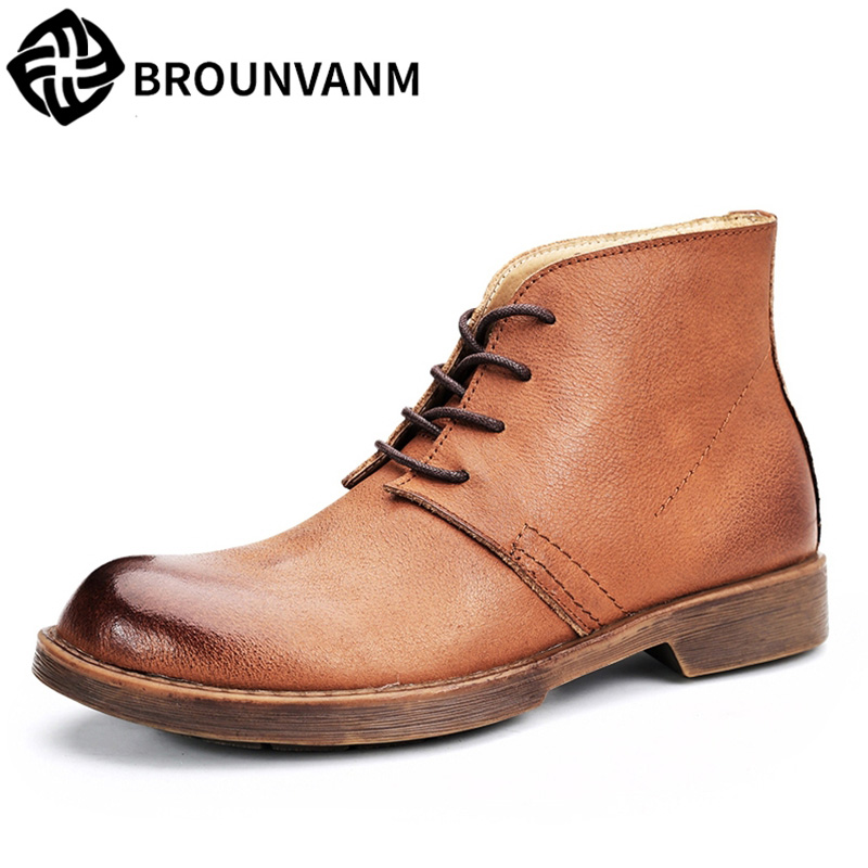 mens Riding boots fashion autumn winter Genuine leather high top shoes military boots military cowhide mens