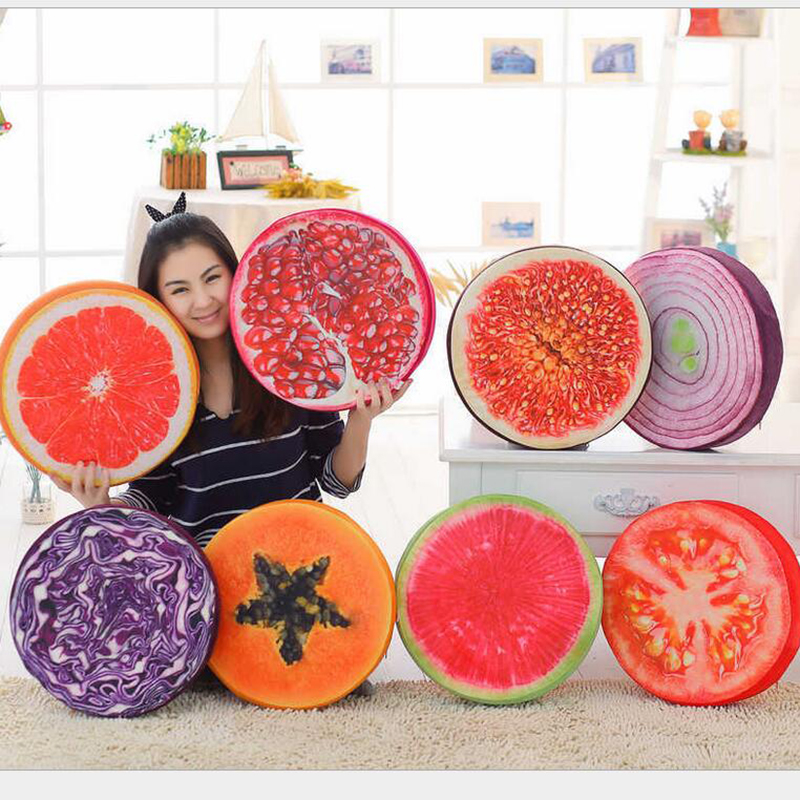 Simulation 3D Cute Fruits Vegetables Watermelon orange onion tomato Stakes Cushions Plush Toys Nap Pillow Cushion