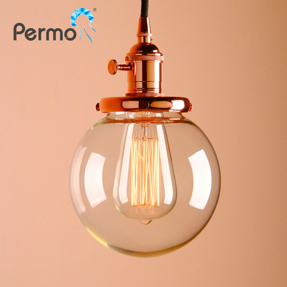 PERMO 5.9 Glass Globe Pendant Lights Vintage Pendant Ceiling Lamps Modern Hanglamp Retro Luminaire Lights Fixture Hot