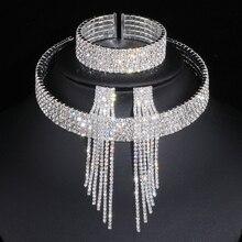Классический Элегантный серебряный цвет кисточкой Кристалл Свадебные Ювелирные наборы Африканский горный хрусталь свадебное ожерелье серьги браслет наборы WX081