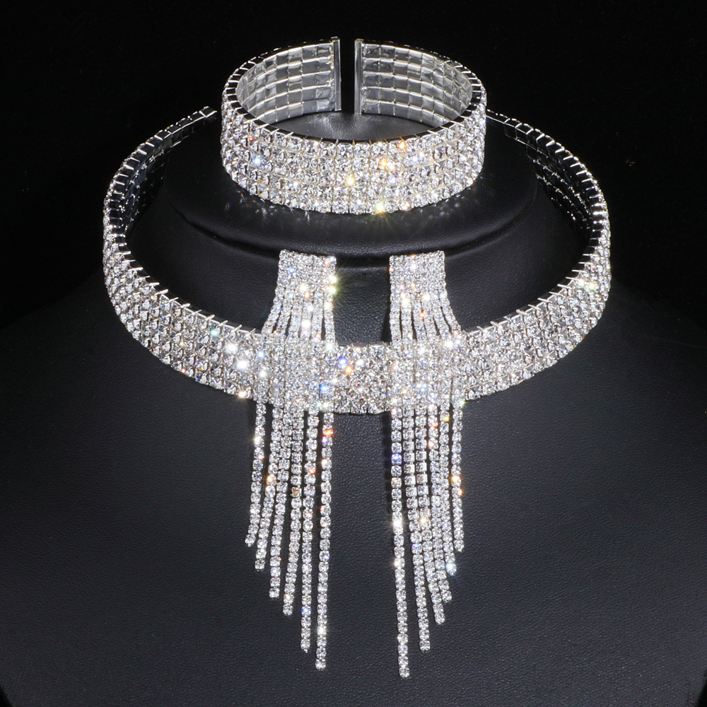 Classic Elegant Silver Color Tassel Crystal Bridal Jewelry Sets African Rhinestone Wedding Necklace Earrings Bracelet Sets