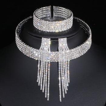 Classic Elegant Silver Color Tassel Crystal African Rhinestone Wedding Necklace Earrings Bracelet Jewelry Sets