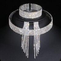 Classique élégant couleur argent gland cristal bijoux de mariée ensembles strass africain collier de mariage boucles d'oreilles Bracelet ensembles WX081
