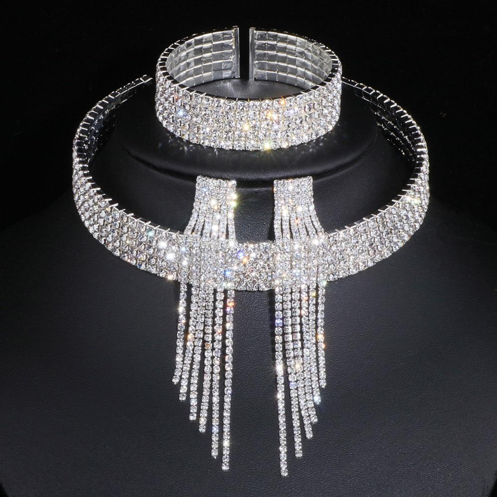 Klassische Elegante Silber Farbe Quaste Kristall Braut Schmuck Sets Afrikanischen Strass Hochzeit Halskette Ohrringe Armband Sets WX081