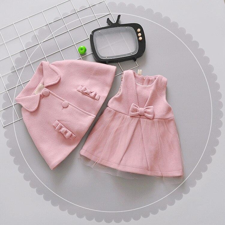 Baby girls clothes autumn/winter dress cloak vest dress 2pcs/sets girls woolen vest dress winter autumn