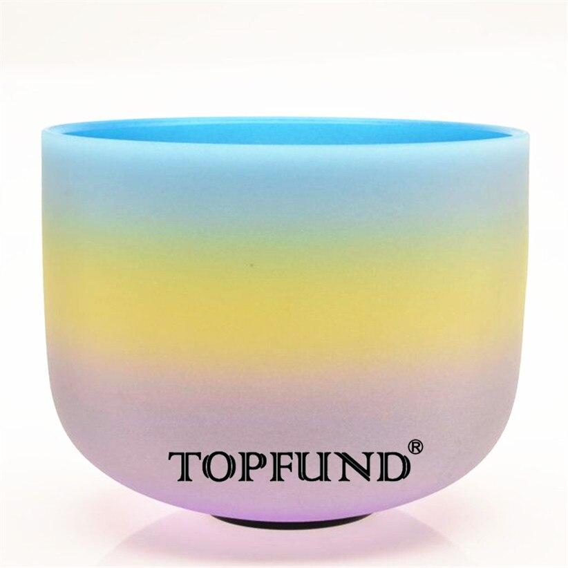 """Здесь можно купить  Rainbow Color E Solar Plexus Chakra Frosted  Quartz Crystal Singing Bowl 10"""" With  Mallet and O-Ring  Спорт и развлечения"""