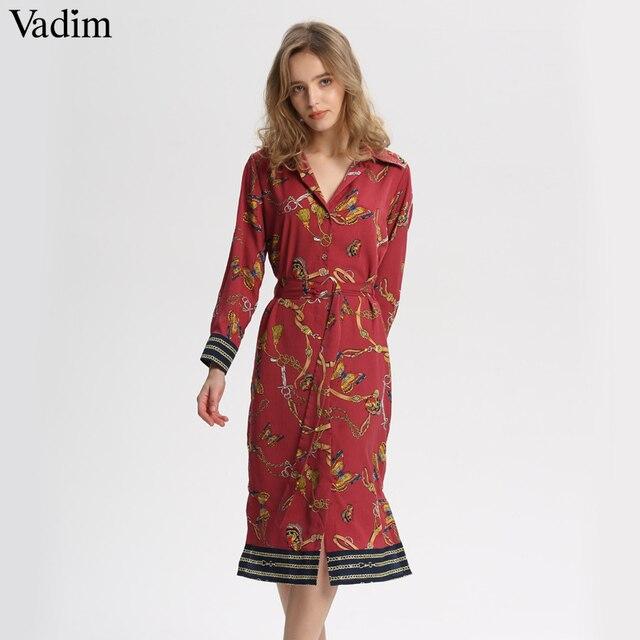 d0a6d912d Vadim las mujeres de cadena vintage midi impresión vestido corbata fajas  manga larga lateral retro casual mujer vestido mujer QA564