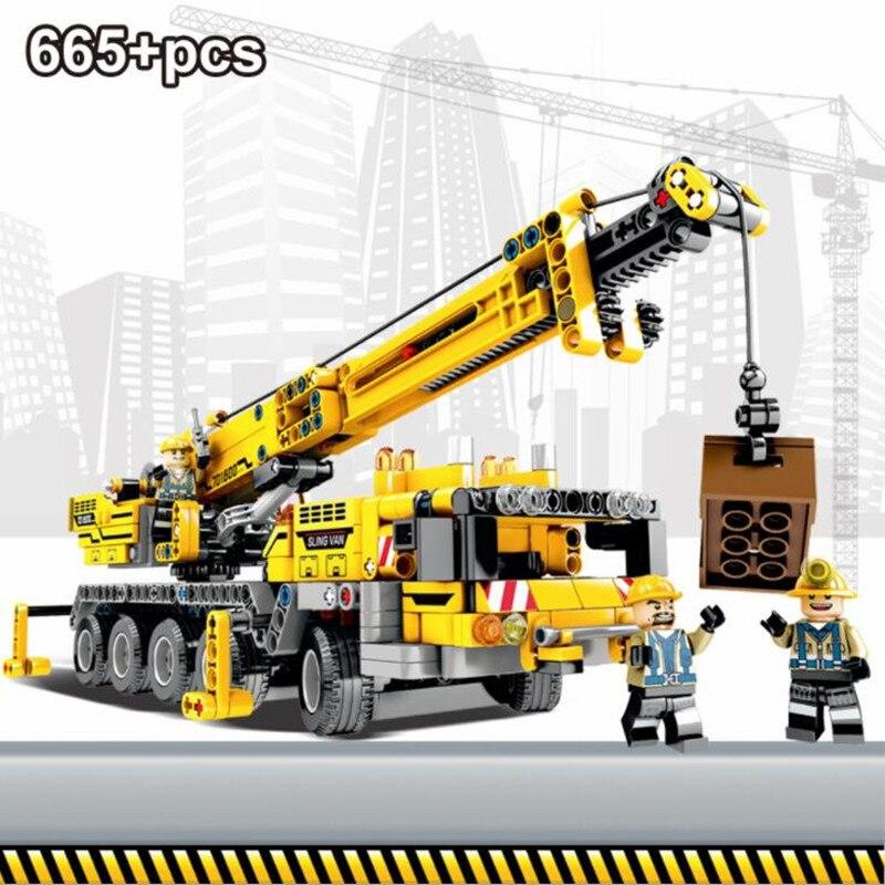 665 шт, инженерные подъемные строительные блоки для подъемного крана, совместимы с legoingly Technic, строительные кирпичные игрушки для детей