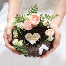 Шт. 1 шт. на заказ имя творческий ручной работы лес гнездо обручение брак Помолвочные кольца держатели коробка украшения Свадебный день кольцо подушк