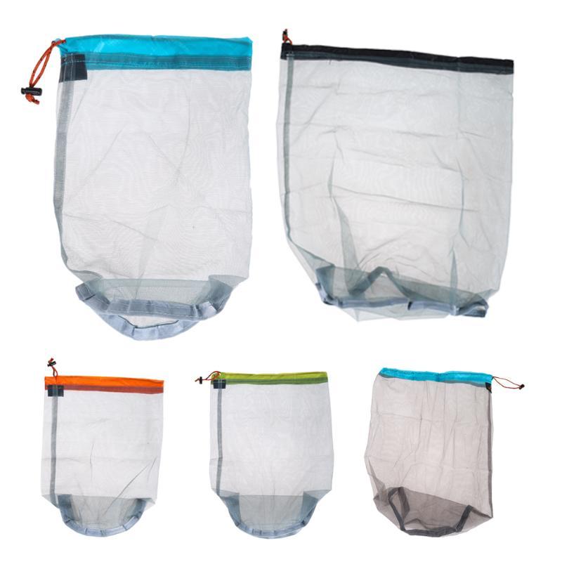 1Pcs Ultra Mesh Stuff Sack Tavel Camping Sports Ultralight Mesh Organization Home Drawstring Storage Bag 5 Sizes