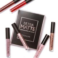 FOCALLURE 3pcs Set New Fashion Matte Lipstick Cosmetic Sexy Lip Metallic Lip Gloss Kit FOCALLURE Lip