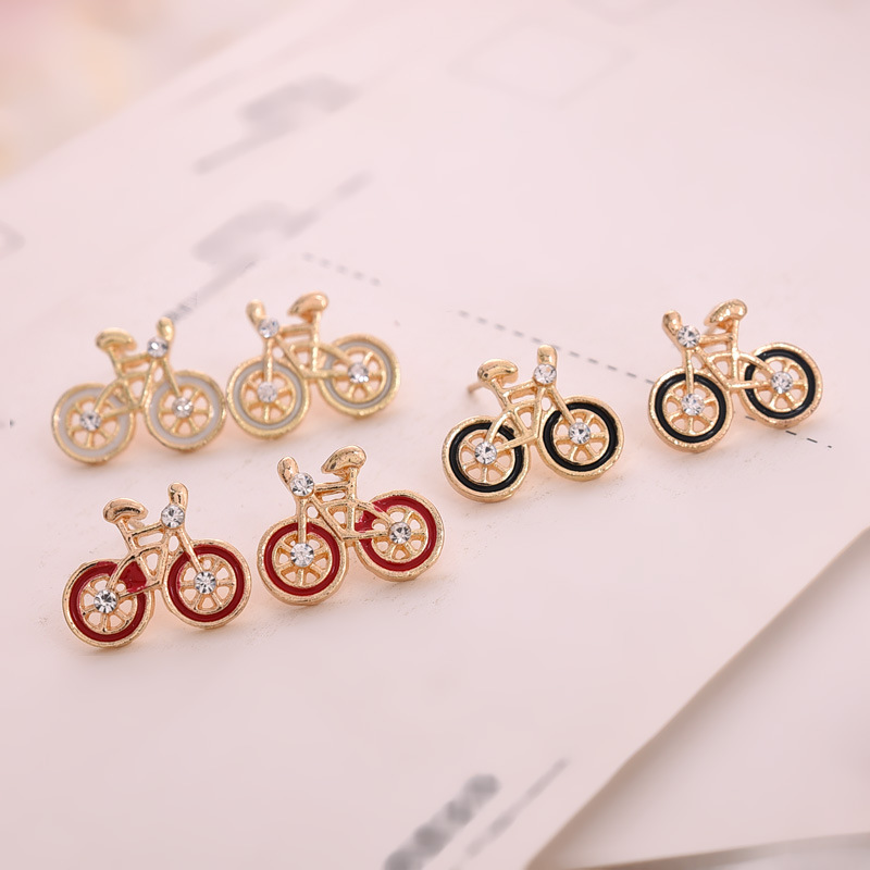 gold alloy gem cute vintage earings bicycle new design stud earrings with stones for women girl 3 colors jewelery new Year gifts
