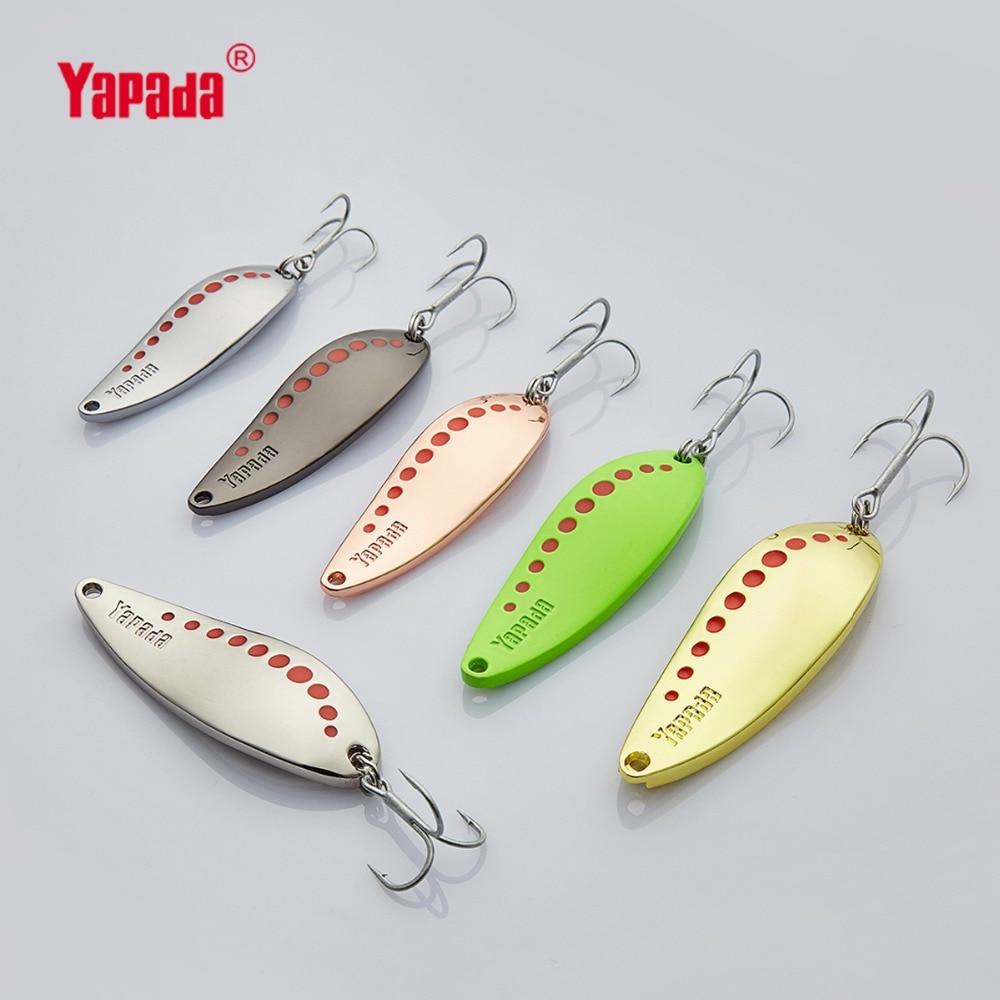 YAPADA Spoon 004 Leech 7.5g/10g/15g/20g Treble HOOK 50mm/55mm/60mm/65mm Metal Spoon Multicolor Fishing Lures 45mm 48mm 50mm 53mm 55mm 60mm 65mm