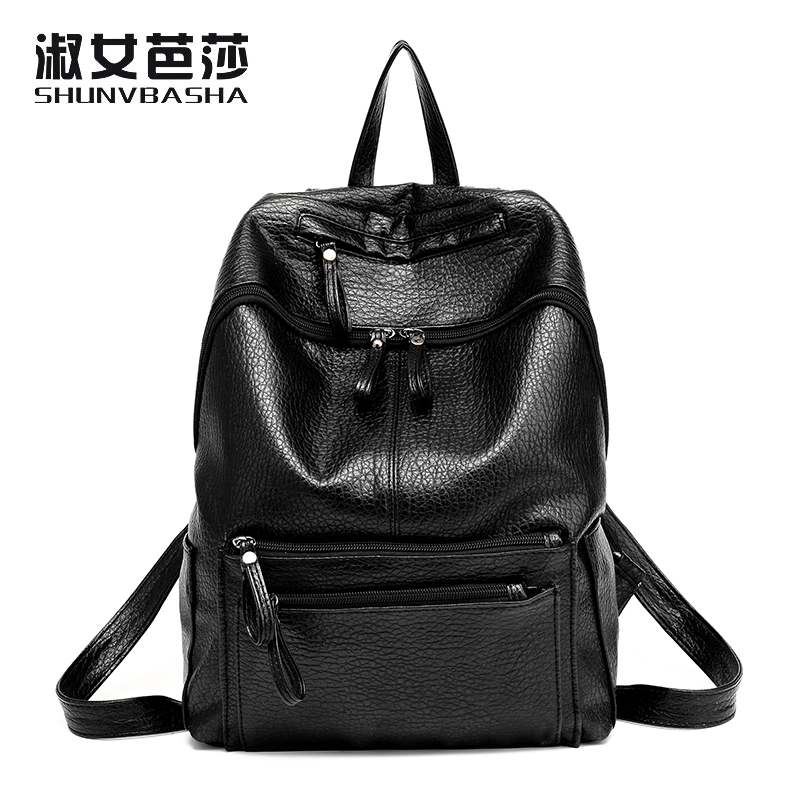 2017 Fashion Backpack Female Travel Back Packs Casual High School Bags For Teenagers Girl PU Leather