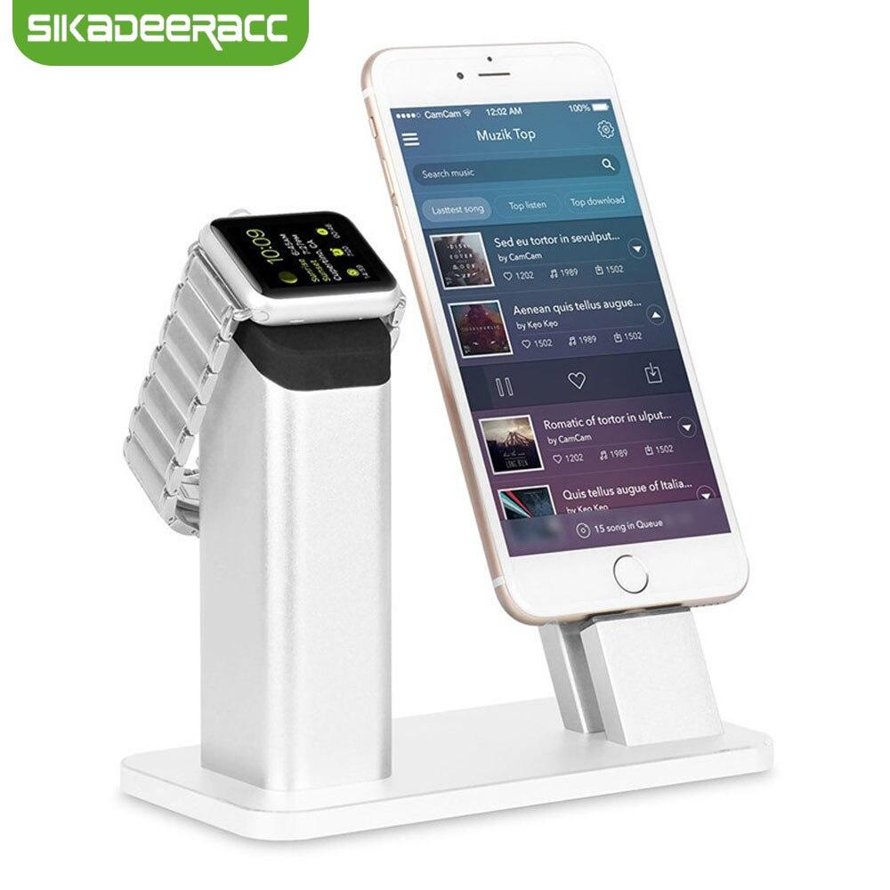 Station de chargement 2 en 1 pour Apple Watch support pour téléphone support pour iPhone 7 Plus 5 s SE 6 6 s 8 X accessoires de Station de montage en aluminium SG31