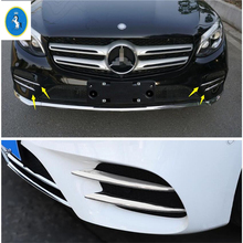 Yimaautotrims Auto Accessory Front Head Fog Lights Lamp Eyelid Eyebrow Strip Cover Fit For Mercedes-Benz C Class W205 2019 ABS yimaautotrims auto accessory front fog lights lamp eyelid eyebrow cover trim for mercedes benz c class w205 sedan 2015 2018