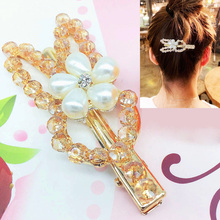 1pc New Fashion Rabbit Women Hair Clips Rhinestone Crystal Pearl Duck-billed Clip Girl Barrettes Hairpins Girls Hair Accessories цена и фото