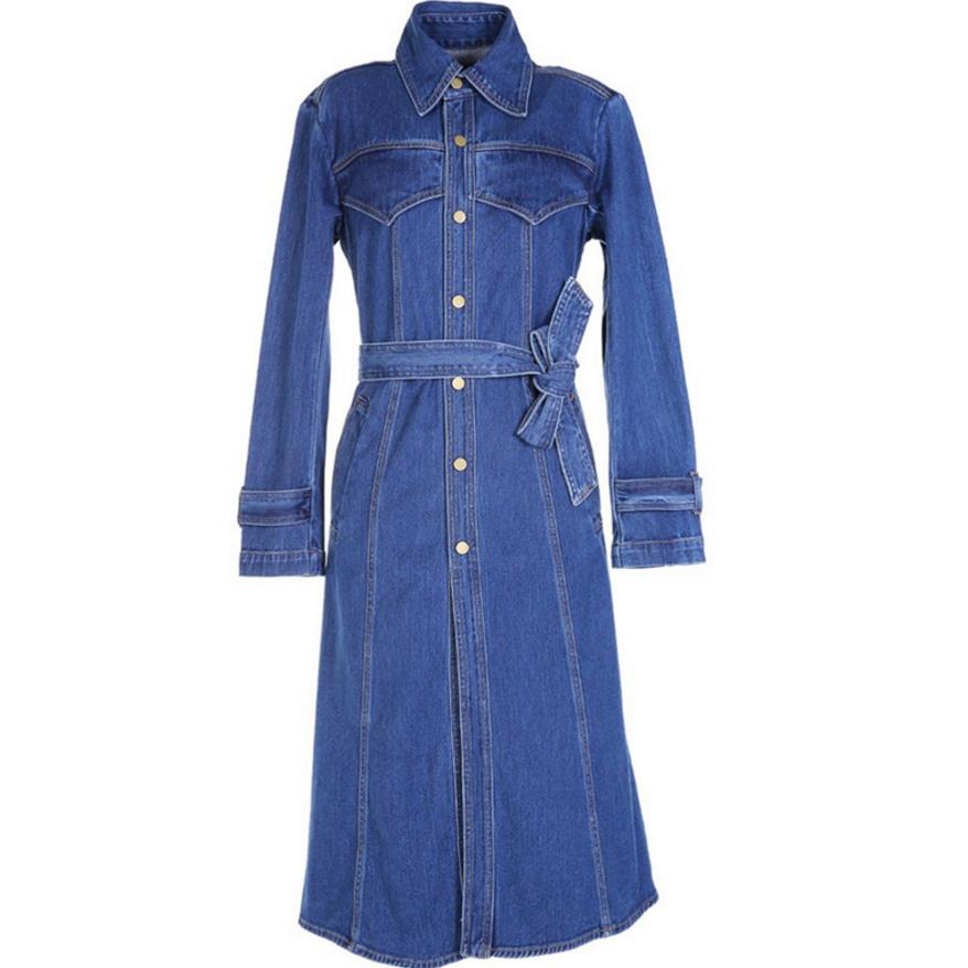 long Cowboy women's   trench   Long Sleeve Denim Coat