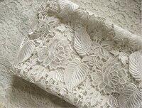 Discount-off Biały Szydełkowane koronki tkaniny tkaniny, venise koronki tkaniny, wesele koronki tkaniny, retro kwiatowy liście tkaniny koronki