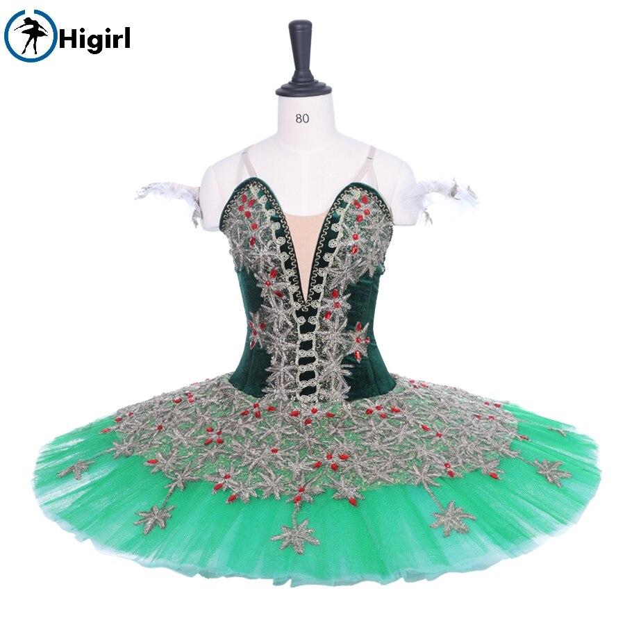 women sugar plum fairy cometiton stage tutu costumes Adult Professional Ballet Tutu Green Gold Pancake Peformance Tutus  BT9188B
