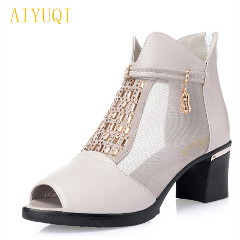 Women's Shoes High Heels Spirited Aiyuqi 2019 New Female Genuine Leather Shoes Comfortable Lace Fish Mouth Mesh Shoes Baotou Sandals Handmade Fashion Shoes Female Rich In Poetic And Pictorial Splendor