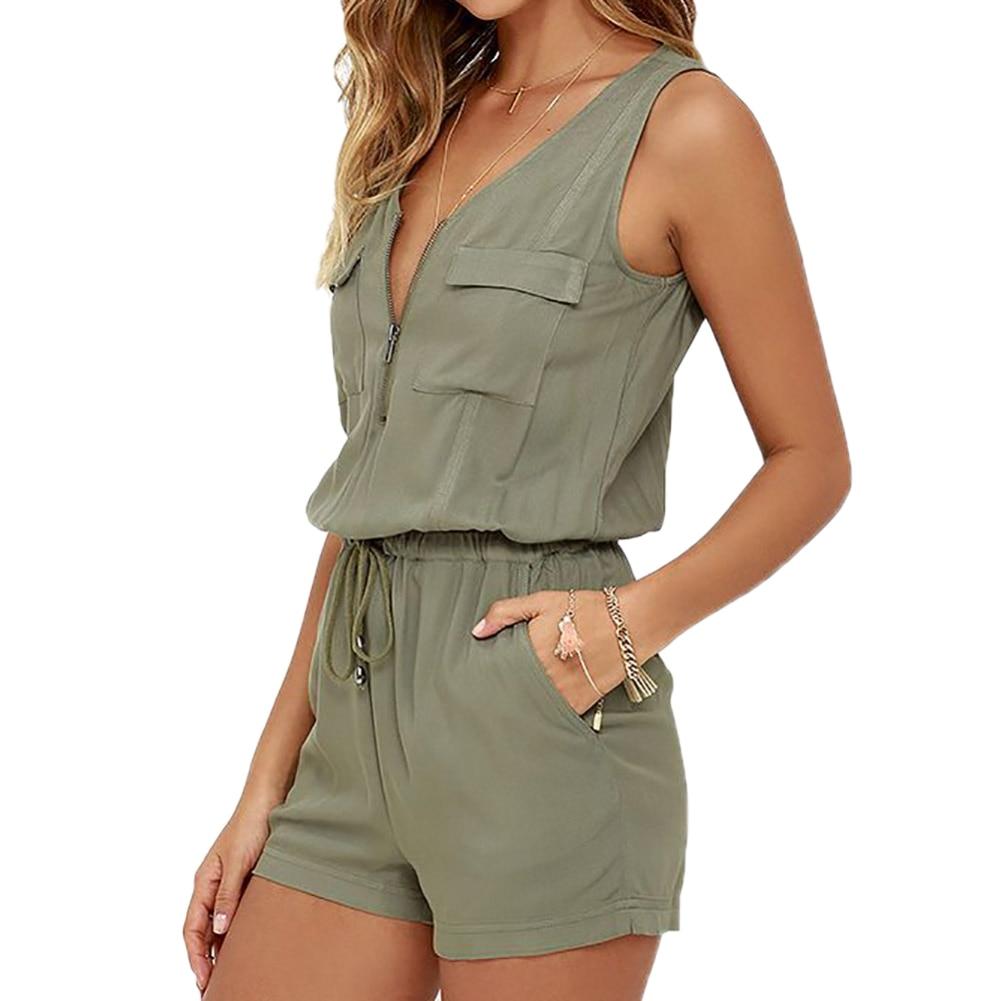 Sexy Sleeveless Bodysuit Women Jumpsuit Shorts Romper Summer V-neck Zipper Pockets Playsuit Fashion Beach Overalls Femme