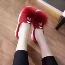 Luxury Fur Leather shoes women's Suede Loafers 2017 New Flat Dress Shoes Woman Slip On Soft Autumn Driving Shoes Women size35-41