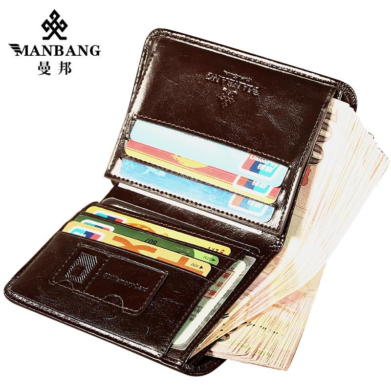 ManBang Classic Style Wallet Genuine Leather Men Wallets Short Male Purse Card Holder Wallet Men Fashion High Quality Men Men's Bags Men's Wallets