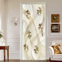 PVC Wallpaper 3D Embossed Golden Leaves Door Sticker Living Room Bedroom Self-Adhesive Waterproof Luxury Home Decor Wall Sticker