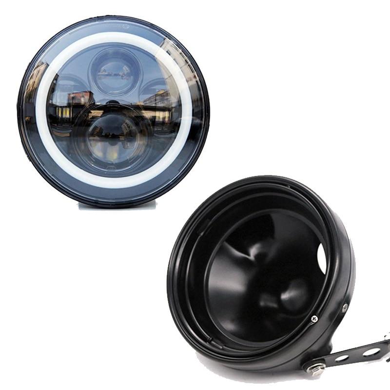 7 Inch 45W DOT SAE E9 Motorcycle 883 Headlamp With Angle Eye Led 883 Headlight 7inch Housing Bucket Trim Ring