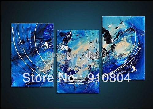 Framed 3 Panels High End Wall Decoration Blue Modern Oil Painting Canvas Art Panel L0144 - 99$ store