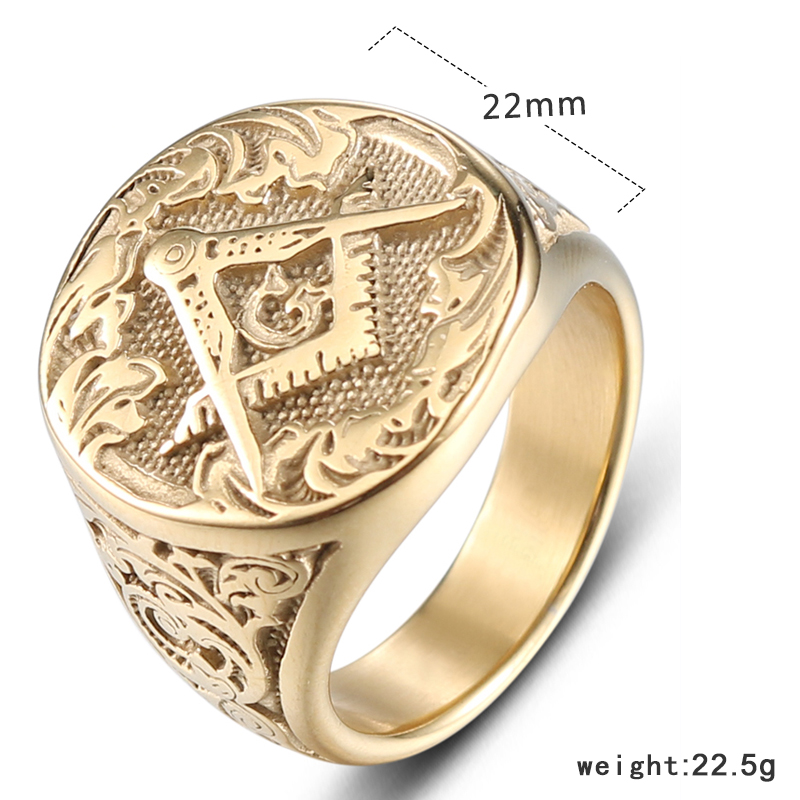 YaHui stainless ring men gold simple high quality ring masonic punk mens rings gold men steel jewelry steel in Rings from Jewelry Accessories