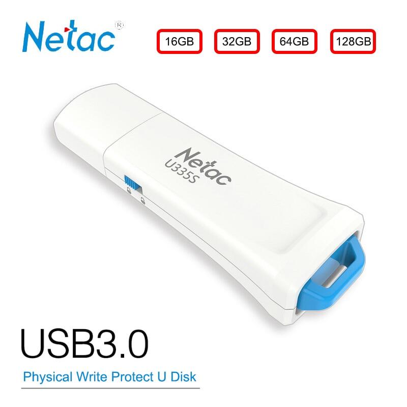 Netac USB Flash Disk 16 GB GB 128 GB USB3.0 32G 64 Física Hardware Write Protect Switcher Bloqueado Polegar unidade de Disco Em Chave Pendrive