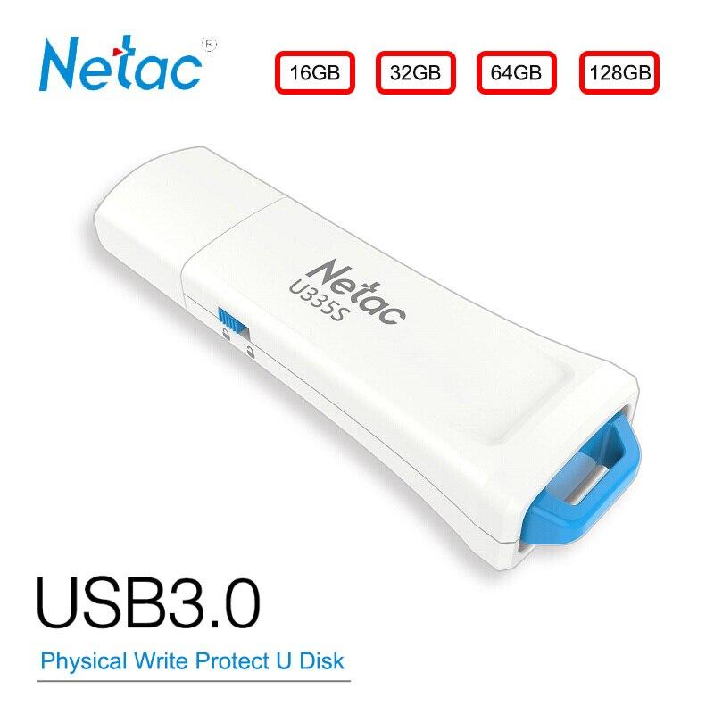 Netac USB Flash Disk 16GB GB 128GB USB3.0 32G 64 Física Hardware Write Protect Switcher Bloqueado Polegar unidade de Disco Em Chave Pendrive