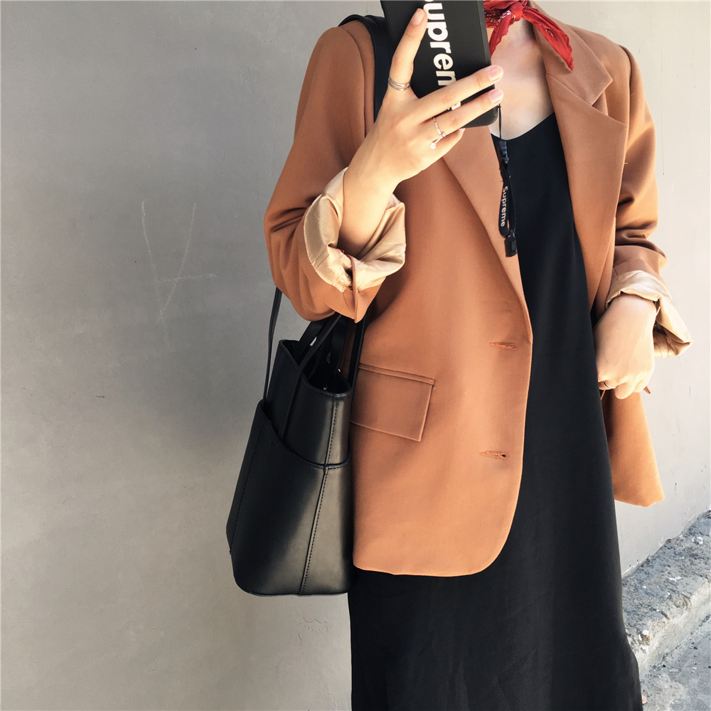 Women Spring Notched Classic Solid Jackets Female Pocket Straight Long Sleeve Blazer Feminino Chaqueta Mujer Outwear Coat