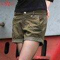 Para mujer Pantalones Cortos de Moda de Verano Pantalones Cortos de Camuflaje Casuales Pantalones Cortos de Cintura Alta de Algodón Verde Del Ejército GK-923