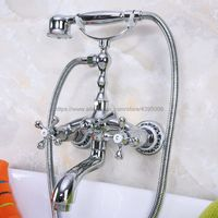 Polished Chrome Dual Handles Bathtub Faucet Wall Mounted Swive Spout with Handshower Tub Mixer Tap Bna195
