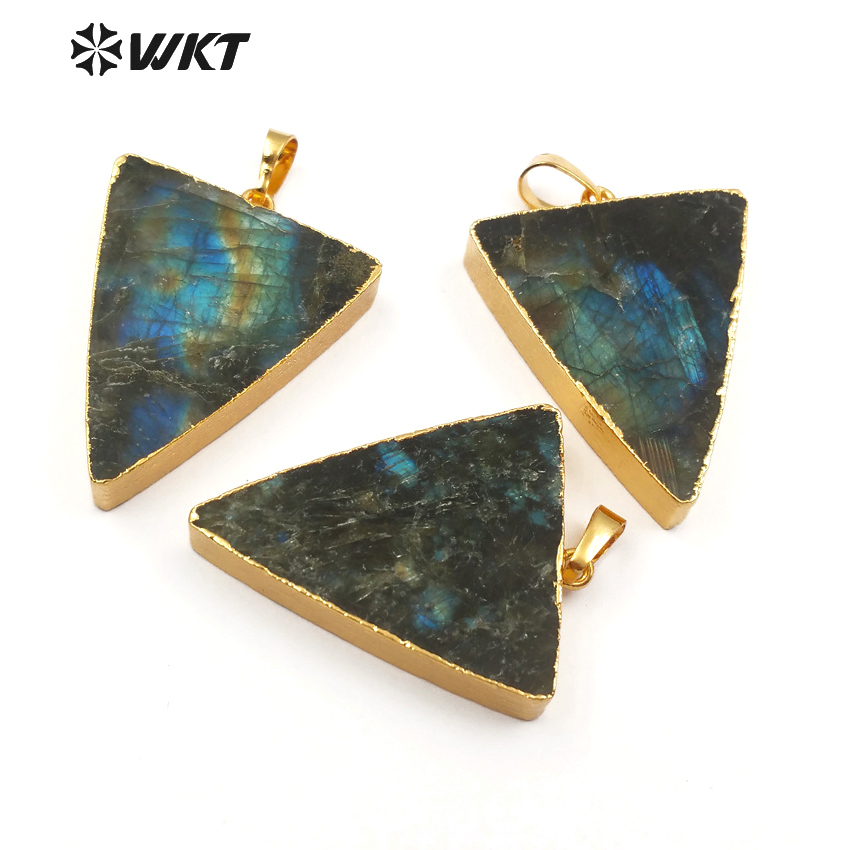 WT P1437 WKT Natural labradorite stone pendant in triangle shape grade A quality shiny stone with