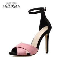 Meilikelin D été Style De Mode de femmes talons hauts sandales dames  célébrité Daim Concis Boucle Sangle chaussures femme sandal. 1d2c8cbc2fe6