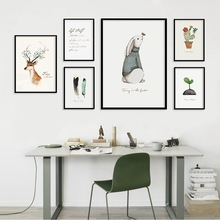 Nordic Style Deer Feather Poster Print Minimalist Wall Art Canvas Painting Landscape Rabbit Pictures For Living Room Home