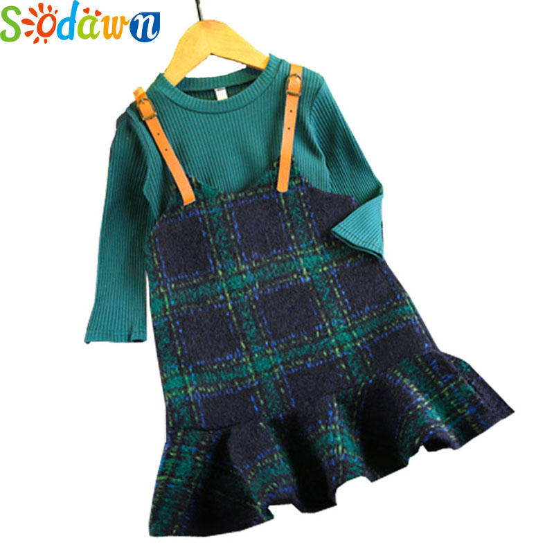Sodawn Autumn Winter New 2017 Girls Clothes Fashion Solid Color Long-Sleeved Shirt+Fish Tail Lattice Dress Suit Kids Clohting